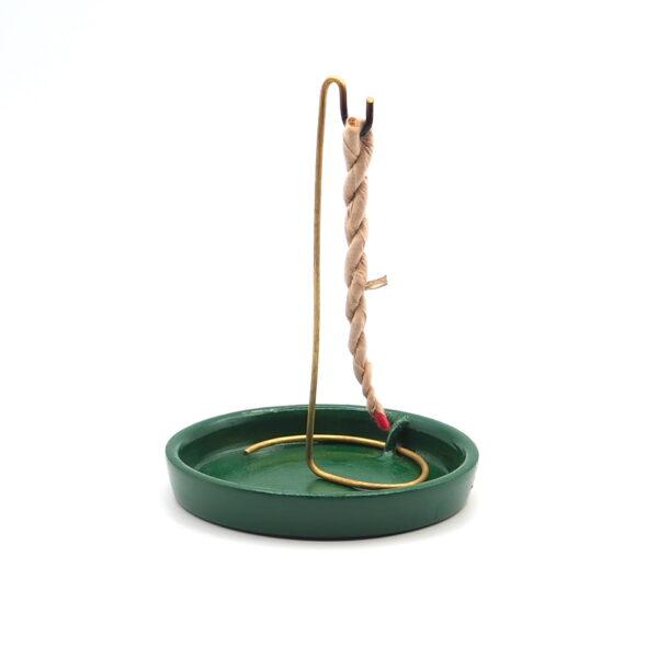 210.066 Incensario de Cerámica para Incienso Rope y Conos   PLATO VERDE